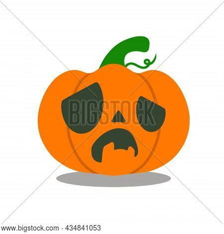Spooky Halloween Pumpkin With Frightened Expression. Image Isolated On White Background. Vector Illu