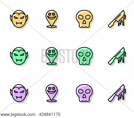 Set Line Skull, Vampire, Happy Halloween Holiday And Bloody Knife Icon. Vector