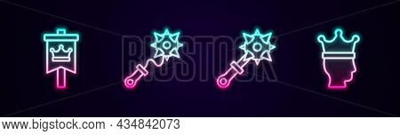 Set Line Medieval Flag, Mace With Spikes, And King Crown. Glowing Neon Icon. Vector