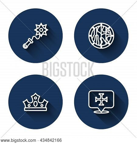 Set Line Mace With Spikes, Round Wooden Shield, King Crown And Crusade With Long Shadow. Blue Circle