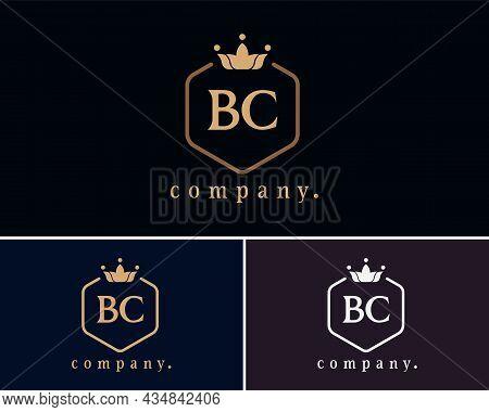 Creative Letter Bc, B And C Graceful Logo. Elegant Emblem And Beautiful Calligraphy. The Hexagonal V