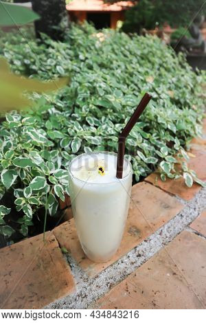 Banana Smoothie, Milkshake Oe Banana Milkshake With Whipping Cream Topping