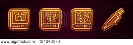 Set Line Photo Album Gallery, Holy Bible Book, Earth Globe And And Pen. Glowing Neon Icon. Vector