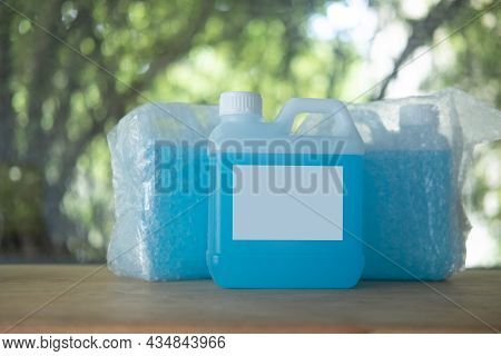 Alcohol For Cleaning And Sanitizing Is Contained In Gallons. Many Gallon Alcohol Gel For Sanitizing