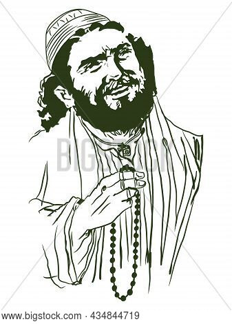 The Muslim Imam Is Holding A Rosary Cartoon Art