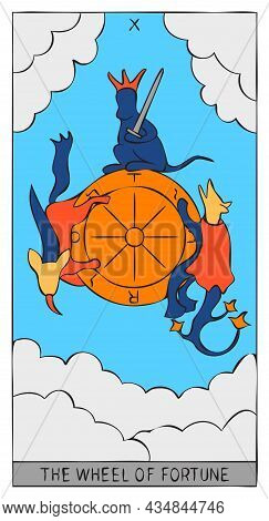 The Image Of The Wheel Of Fortune Of Tarot Card. Design Of Image Of Tarot Card With Wheel Of Fortune