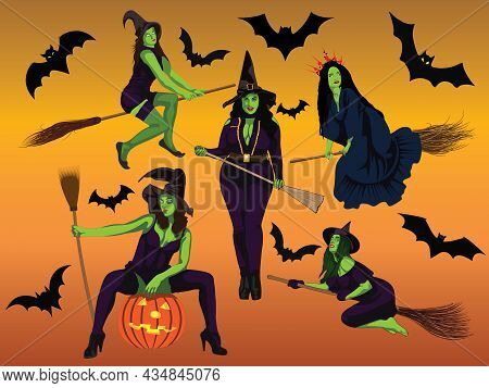 Five Halloween Witches Set With Different Figure Size And Style With Pumpkins Or Flying Broom Cartoo