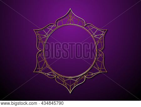 Mystic Lotus Gold Frame Logo Icon, Golden Mandala Of Alchemy Esoteric Flower Of Life. Seed Of Life S
