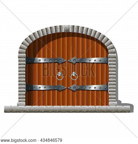 Vector Gate Of Fairy Tale Castle And Tower. Stone Entrance With Wooden Gates, Hinges And Vintage Han