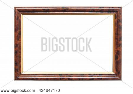 Brown Photo Frame For Photographs And Pictures With Golden Inserts On A White Background. Isolated