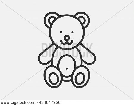 Teddy Bear Toy Icon On White Background. Line Style Vector Illustration.