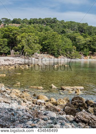 Panorama View Of North Harbour Of Phaselis. Ruins Of Greek City On The Coast Of Ancient Lycia. Archi