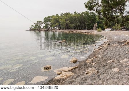 North Harbour Of Phaselis. Ruins Of Greek City On The Coast Of Ancient Lycia. Architectural Landmark