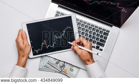 Account Profit. Investment Business Technology App On Digital Screen. Finance Application For Sell,
