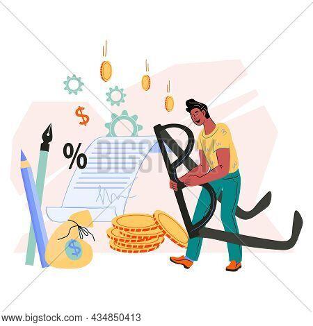 Businessman Signing Up Contract Or Business Agreement, Partnership Deal, Flat Cartoon Vector Illustr