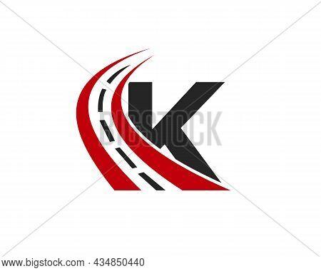 Transport Logo With K Letter Concept. K Letter Road Logo Design Template