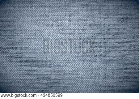 Close-up Of Gray-blue Woven Surface. The Texture Is Similar To Len. Abstract Background From Fabric.