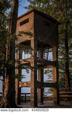 Gosan, Poland - September 10, 2021: An Old Steel German Observation Tower, Build In The Second World