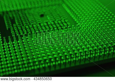 Computer Processor Close Up. Dark Green Tinted Background Or Backdrop. Information Technology Wallpa