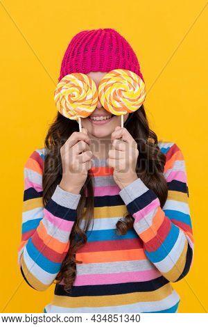 Playful Mood. Sweet Tooth. Yummy. Happy Teen Girl Hold Lollipop. Lollipop Lady.