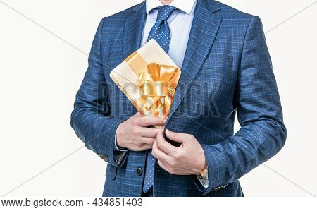 Cropped Businessman Man In Businesslike Suit Holding Present Box Isolated On White, Business Reward