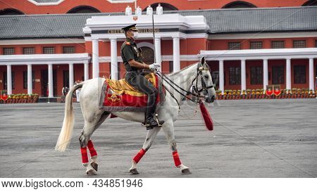 Dehradun, Uttarakhand India August 15, 2021. Parade Commander At The Horse In Indian Army Officer Pa