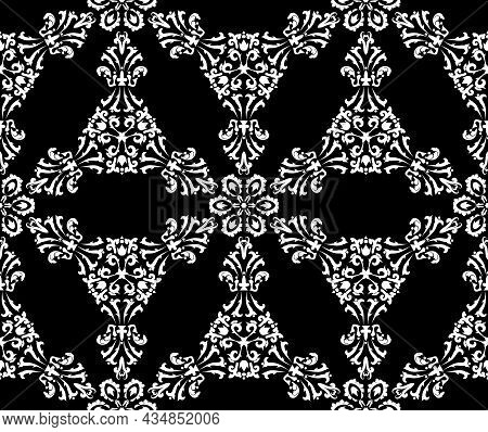 Vector Seamless Pattern With Filigree Damasks. Black And White. Decorative Texture. Mehndi Patterns.