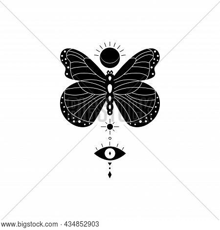 Mystical And Celestial Vector Aesthetic Butterfly. Spirituality And Esoteric Tattoo. Magic Butterfly