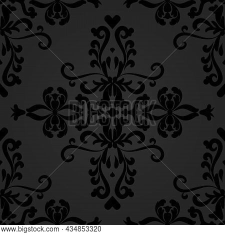 Linear Black Damask Seamless Vector Pattern. For Fabric, Wallpaper, Venetian Pattern,textile, Packag