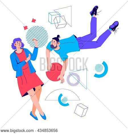Colleagues Or Coworkers Do Work Tasks. Business Workflow And Efficient Cooperation, Collaboration An