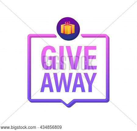 Gift Box Icon Design Template. Giveaway. Typography Design. Post Box. Winner Banner. Vector Stock Il