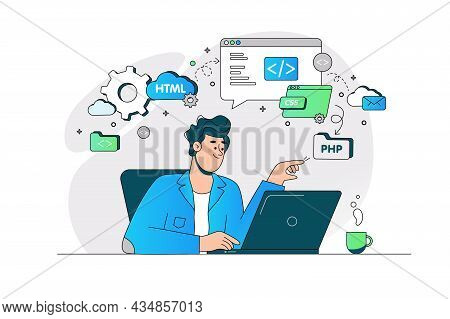 Guy Busy With Website Page Development Vector Illustration. Creating Site For Multiple Platform Flat
