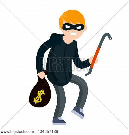 Thief With Crowbar. Male Offender Sneaks. Cartoon Flat Illustration. Criminal Problem. Man Robber In