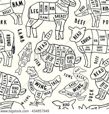 Seamless Pattern In The Style Of Handmade Graphics For Butchery. Beef, Pork, Lamb, Rabbit, Duck And