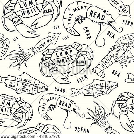 Seamless Pattern In The Style Of Handmade Graphics For Seafood Shop. Crab, Lobster, Shrimp, Fish And