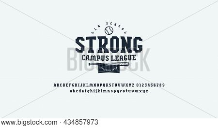 Serif Font In Sport Style And Print For T-shirt. Letters And Numbers For Logo And Emblem Design. Vec