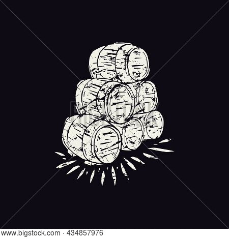 Stack Of Wooden Barrels Vector Illustration In Linocut Style. White Print On Black Background
