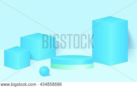 Background Vector 3d Blue Rendering With Podium And Minimal Blue Pastel Wall Scene, Minimal Abstract