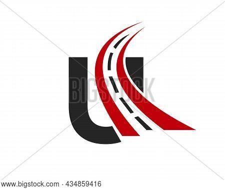 Transport Logo With U Letter Concept. U Letter Road Logo Design Template