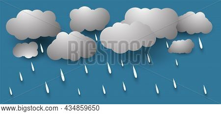 Heavy Rain In Dark Sky, Rainy Season, Clouds And Storm, Weather Nature Background, Flood Natural Dis