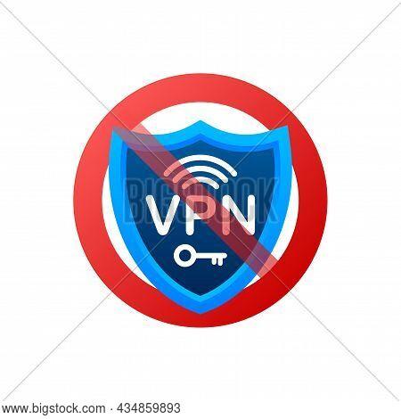 No Vpn. Vector Set. Safety Internet Technology. Digital Technology Data Protection.
