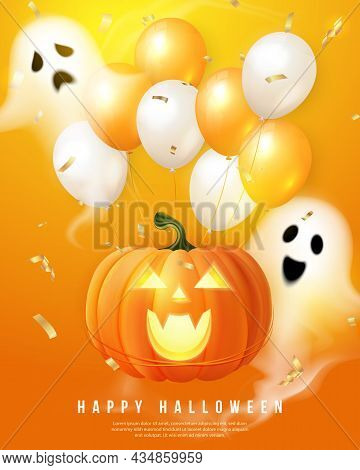 Happy Halloween 3d Realistic Scary Jack Lantern And Celebration Ballon Spirit Ghost