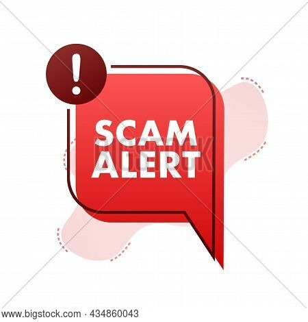 Banner With Red Scam Alert. Attention Sign. Cyber Security Icon. Caution Warning Sign Sticker. Flat