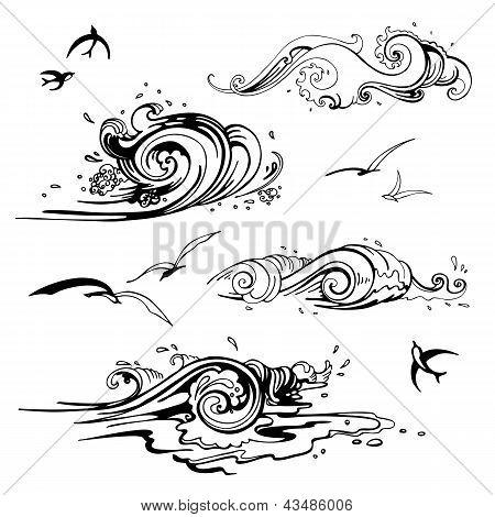 Sea waves set. Hand drawn vector illustration.
