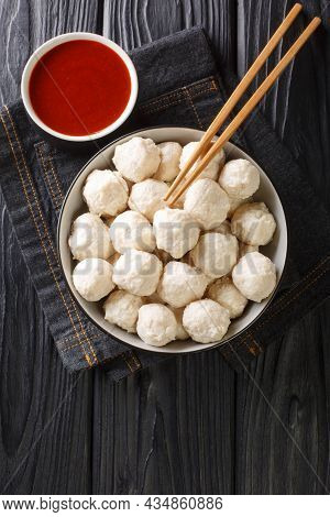 Bakso Ayam Recipe Indonesian Meatballs From Chicken With Sauce Close Up In The Bowl On The Table. Ve