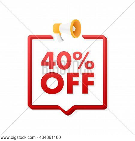 40 Percent Off Sale Discount Banner With Megaphone. Discount Offer Price Tag. 40 Percent Discount Pr