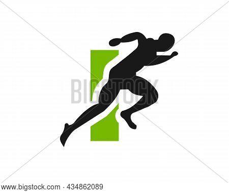 Sport Running Man Front View On Letter I Logo. Running Man Silhouette Logo Template For Marathon, Te