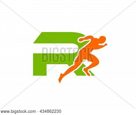 Sport Running Man Front View On Letter R Logo. Running Man Silhouette Logo Template For Marathon, Te
