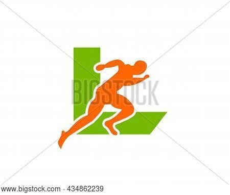 Sport Running Man Front View On Letter L Logo. Running Man Silhouette Logo Template For Marathon, Te