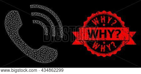 Mesh Polygonal Phone Call On A Black Background, And Why Query Textured Ribbon Stamp. Red Stamp Seal